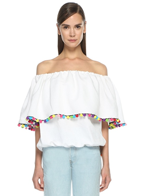 Forte Couture Kayık Yaka Volanlı Bluz Beyaz